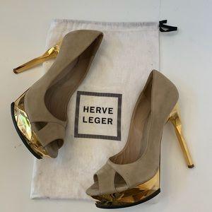 Herve Leger KELLIA Nude Lamb Suede Gold Prism Heel